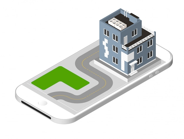 Modern house with a road standing on the smartphone screen. urban dwelling building with a windows and air-conditioning. vector illustration isolated