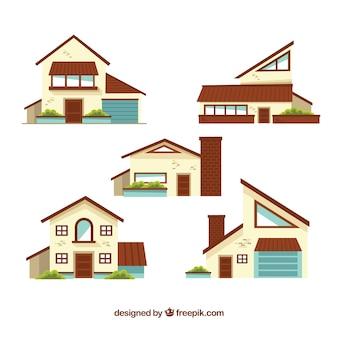 Коллекция современных домов в плоском дизайне