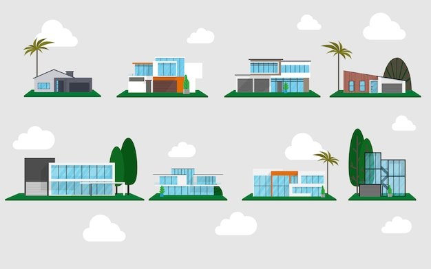 Modern houses in many style ready to use with background of the sky with some cloud