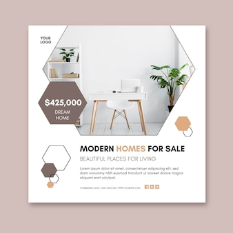 Modern houses square flyer template