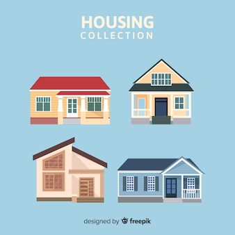 Modern housing collection with flat design