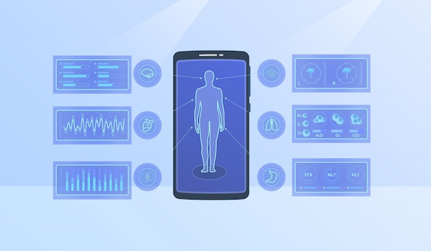 Modern human body health statistics for infographics with modern flat style