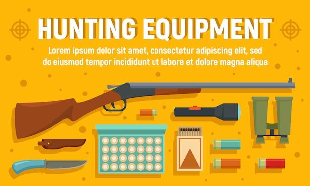 Modern hunter equipment banner, flat style