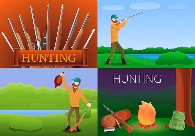 Modern hunting equipment illustration set on cartoon style
