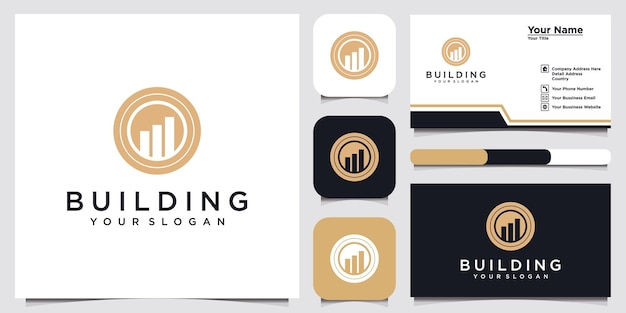 モダンなiconbuildingconsultingagencyのロゴデザインテンプレートと名刺