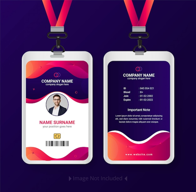 Modern id card template with gradient abstract design
