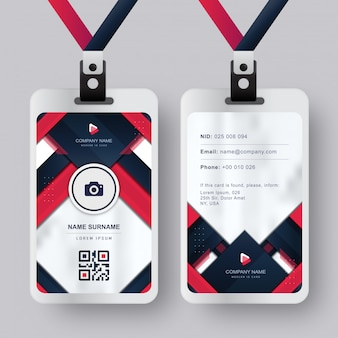Modern id card with red blue navy absract background