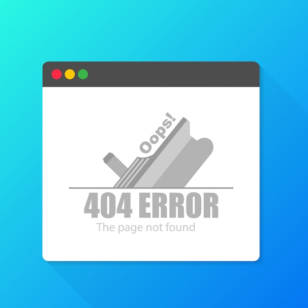 Modern illustration of 404 error page template for website.