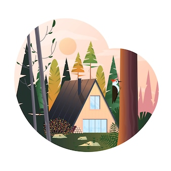 Modern  illustration of cabin