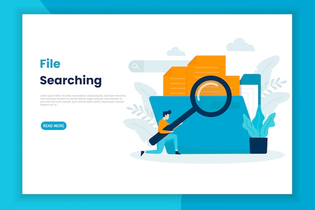 Modern illustration concept file searching landing page.