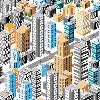 デザインゲームとビジネス形状の背景のモダンなイラスト都市の建物のベクトルアーキテクチャから等角投影都市。