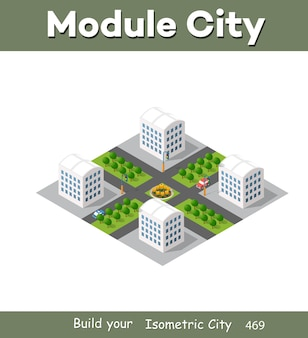 デザインゲームとビジネス形状の背景のモダンなイラスト都市の建物のベクトルアーキテクチャから等尺性モジュール都市。