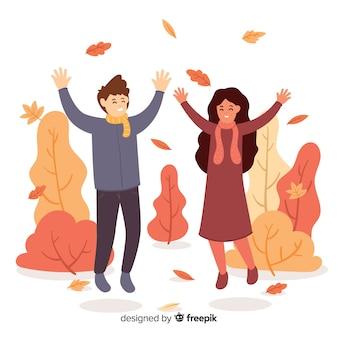 Современная иллюстрация из парка на осень
