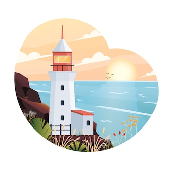 Modern  illustration of lighthouse