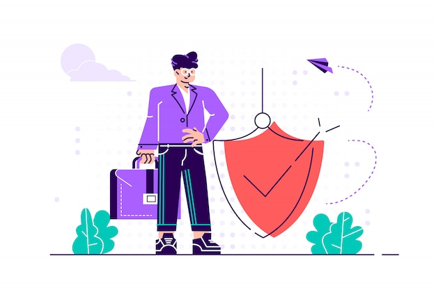 Modern  illustration. man is holding a shield covering from attacks. protection, insurance, from business dangers concept.