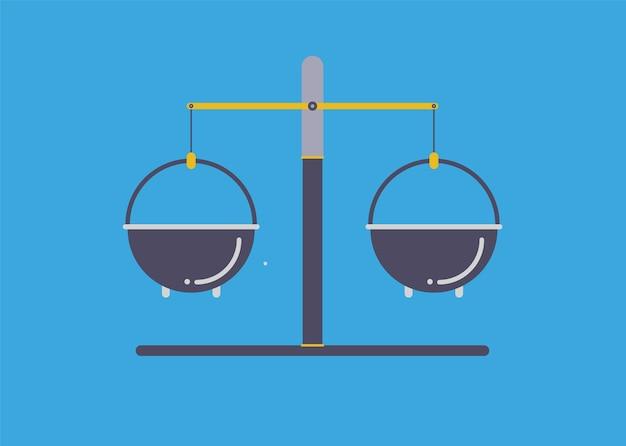 현대 일러스트레이션 슬라이더 사이트 페이지입니다. 화학 분말 웹 배너 디자인의 무게를 측정하기 위한 저울.
