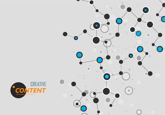 医療デザインのための科学分子接続性を備えた現代のイラスト。科学研究の概念。ネットワーク接続構造。抽象的なアイコン。将来の技術。バイオテクノロジーのコンセプト。