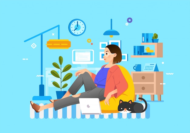 Modern illustration of women stiting on bean bag with laptop and cat
