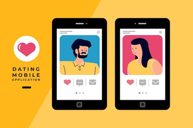손을 잡고 모바일 채팅을 통해 온라인 응용 프로그램을 데이트하는 현대 삽화 concpt