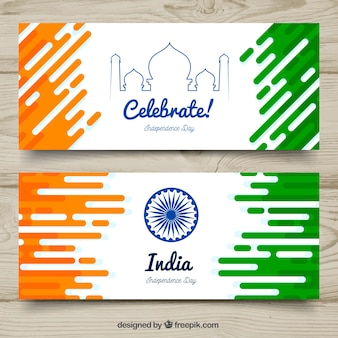 Modern india independence day banners
