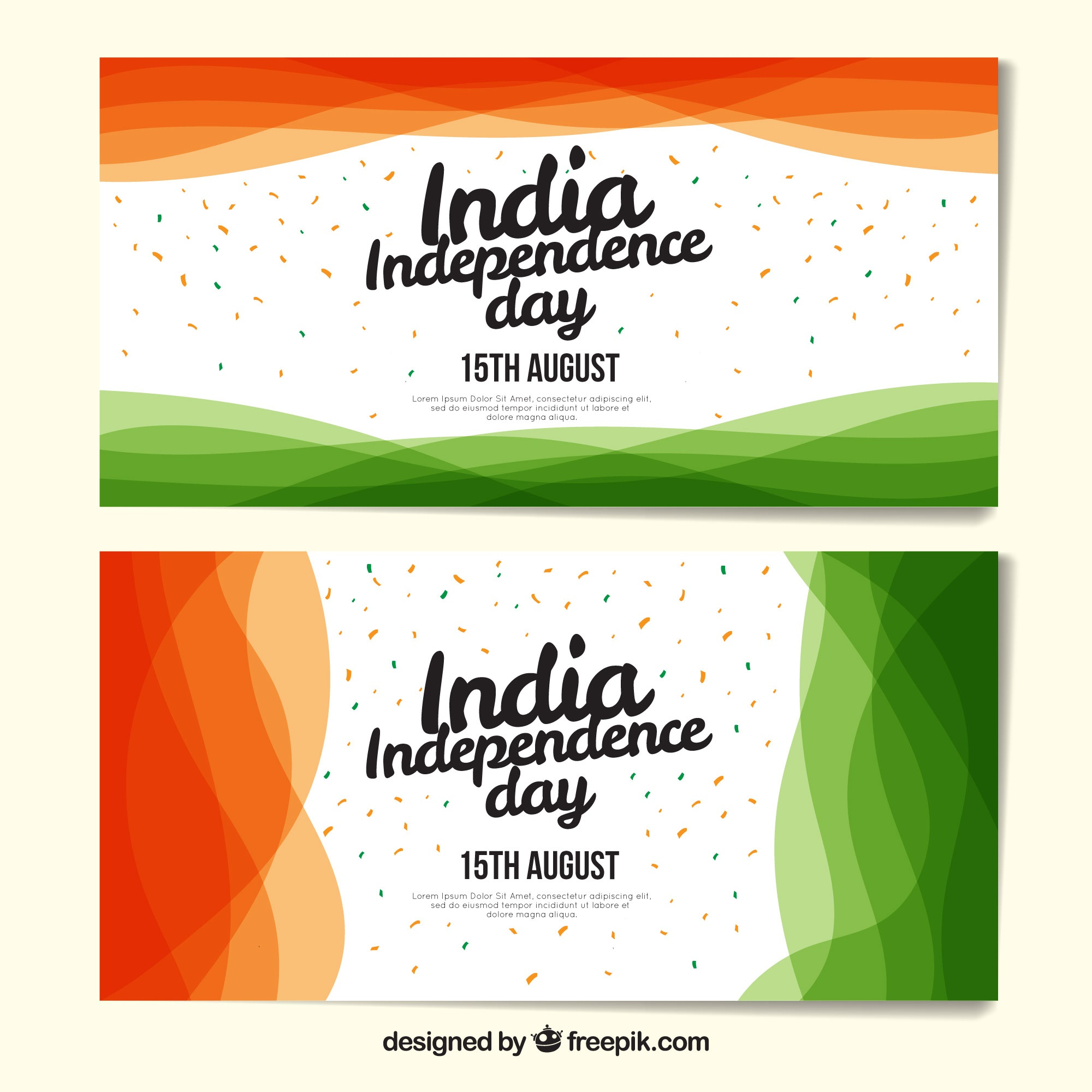 Modern indian independence day banners