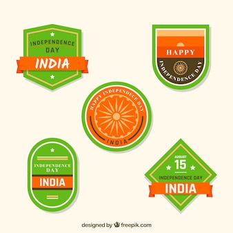 Modern indian independence day labels