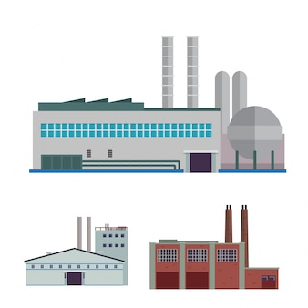 Modern industrial factory and warehouse logistic building illustration set