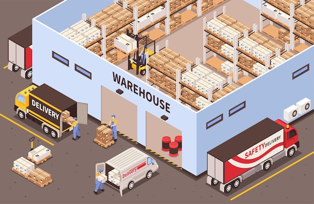 Modern industrial warehouse interior with storage racks facilities exterior with logistic delivery services isometric view