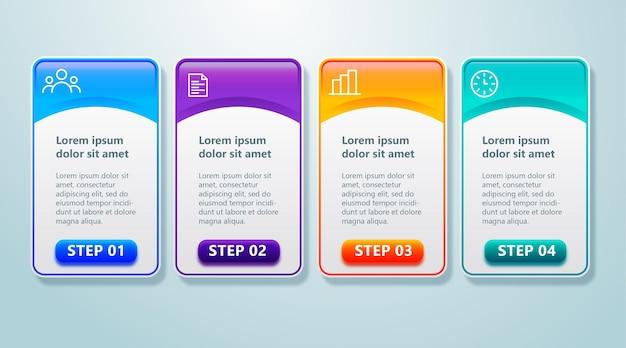 4 단계 요소가있는 최신 인포 그래프 템플릿