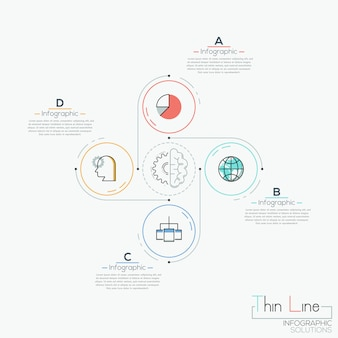 Modern infographic , 4 circular elements with pictograms placed around
