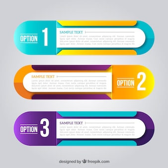 Modern infographic banners with variety of colors