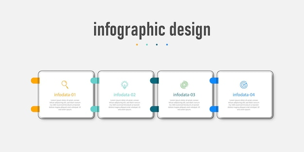 Modern infographic design business template and with option number workflow four steps