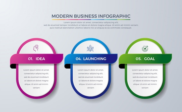 Modern infographic design with 3 process or steps.