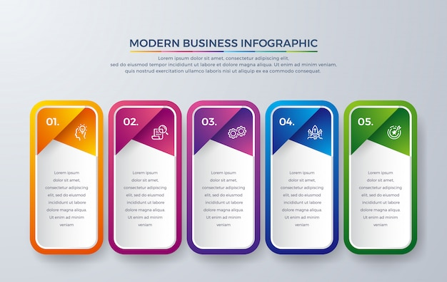 Modern infographic design with 5 process choices or steps.