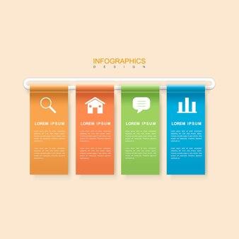 화려한 배너 요소와 현대 infographic 디자인