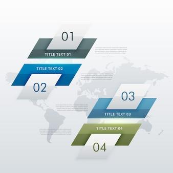 Moderno diagramma a quattro fasi per presentazioni aziendali e disegni del flusso di lavoro