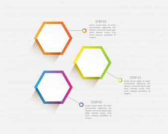 Modern infographic design with three steps for presentation