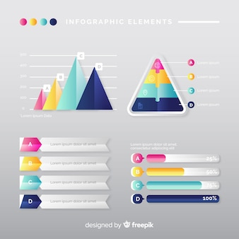 Modern infographic element collection with gradient style