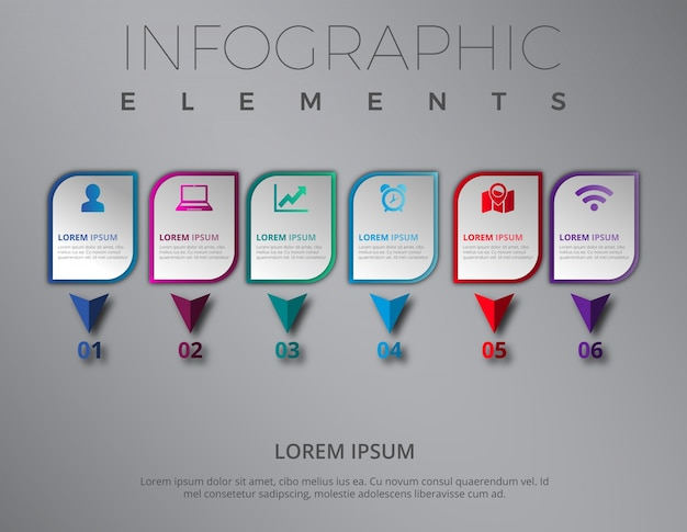 Modern infographic elements with steps template