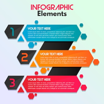 Modern infographic hexagon 3 steps elements