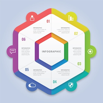 Modern infographic hexagon template with six options for workflow layout, diagram, annual report, web design