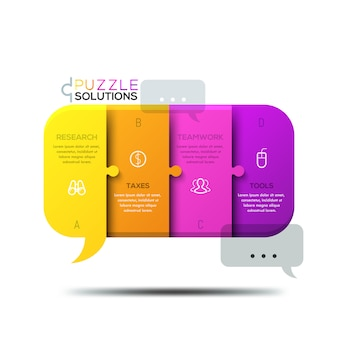 Modern infographic, jigsaw puzzle in shape of speech bubble