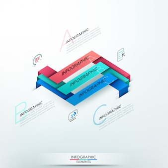 Modern infographic option banner with 3 paper ribbons