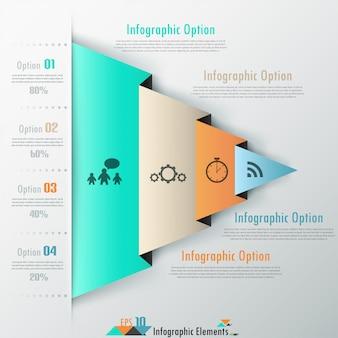 Современные инфографические варианты баннеров с цветной бумагой изогнутого треугольника