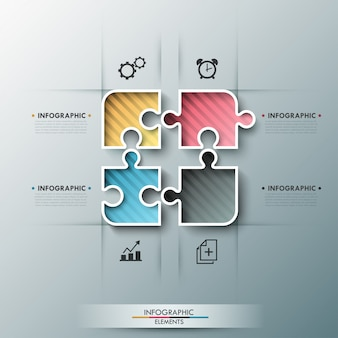 Modern infographic options banner with color puzzle elements