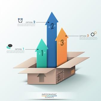 Современный инфографический баннер вариантов с открытой коробкой