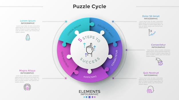 5つのパズル要素に分割された円グラフを備えたモダンなインフォグラフィックオプションバナー。ベクター。 webデザインとワークフローレイアウトに使用できます