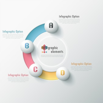 Modern infographic options banner with white spheres on color path
