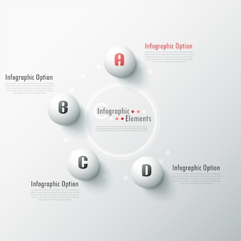 Modern infographic options banner with white spheres