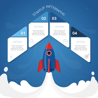 Modern infographic, rocket concept,  illustration with 4 geometric shape for text